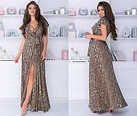 """Летнее длинное платье на запах """"Диана"""" с коротким рукавом (2 цвета)"""