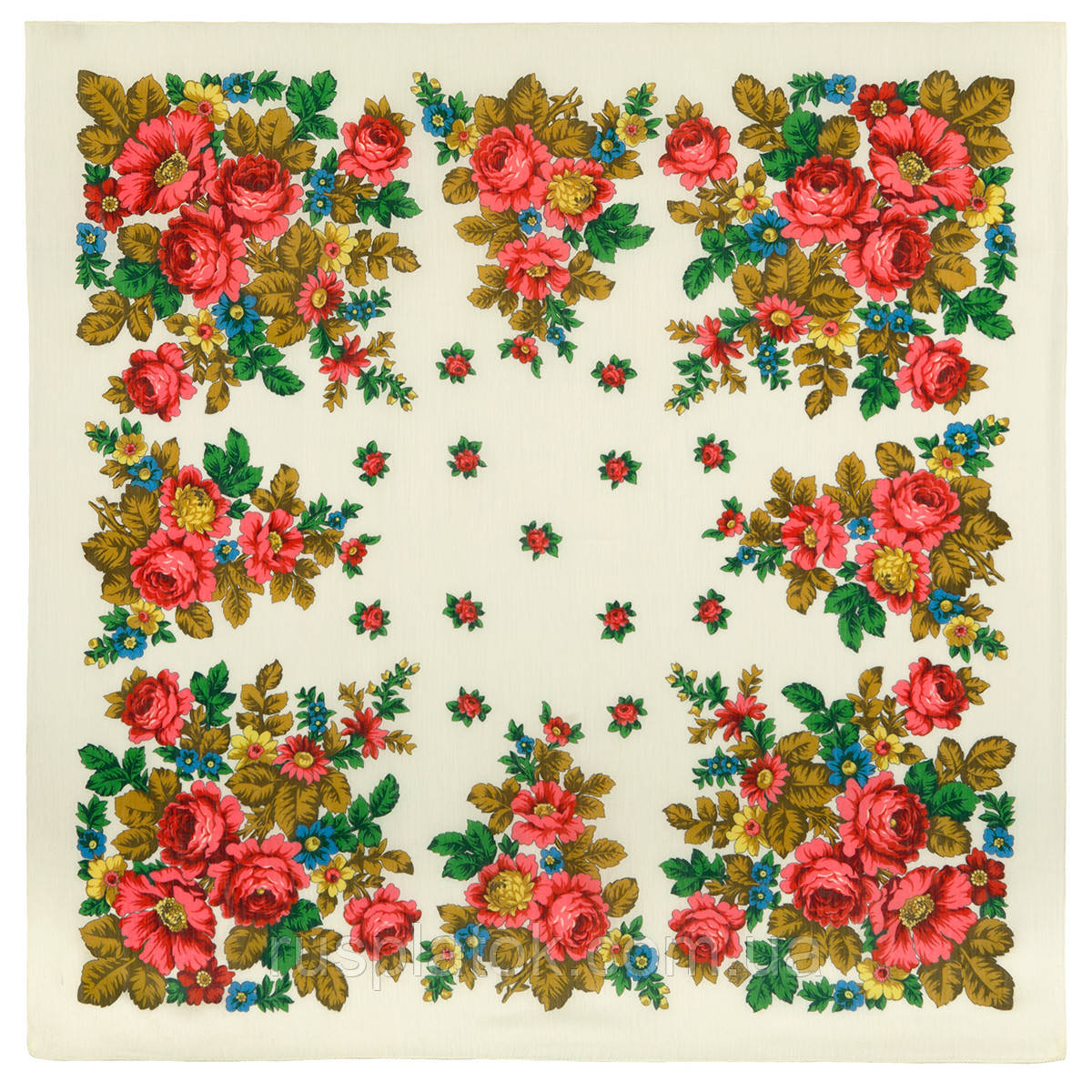 Солнечная тропинка 1847-0, павлопосадский платок шерстяной (разреженная шерсть) с швом зиг-заг