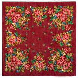 Солнечная тропинка 1847-5, павлопосадский платок шерстяной (разреженная шерсть) с швом зиг-заг