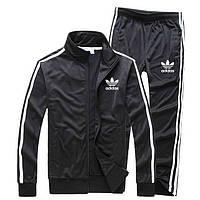 Черный мужской спортивный костюм Adidas с лампасами (Адидас)