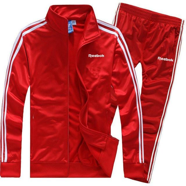 Тренувальний костюм Reebok червоного кольору з лампасами (Рібок)