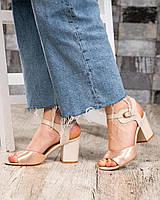 35, 36, 40 размер Женские босоножки золотистый сатин на каблуке натур.кожа/лаковая кожа