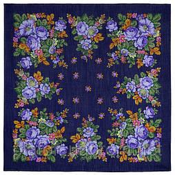 Солнечная тропинка 1847-14, павлопосадский платок шерстяной (разреженная шерсть) с швом зиг-заг