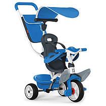 Велосипед детский Беби Балад металлический с козырьком багажником сумкой голубой Baby Balade Smoby