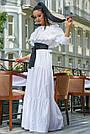Белое летнее платье длинное с открытыми плечами, фото 5