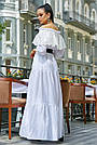 Белое летнее платье длинное с открытыми плечами, фото 2
