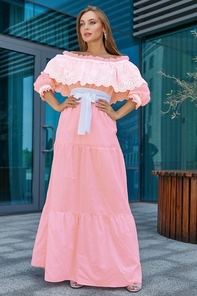 Женское нарядное летнее платье, розовое, повседневное, молодёжное, элегантное, макси, с открытыми плечами