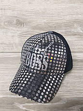"Женская, бейсболка, кепка с паетками, черного цвета ""BOSS"" размер 53-54, на регуляторе, фото 3"