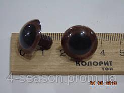 Глазки пластик коричневые с черным зрачком 2 см цена за пару