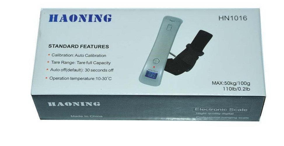 Электронные цифровые весы безмен кантер Haoning Electronic Scale HN1016 с ремешком до 50кг