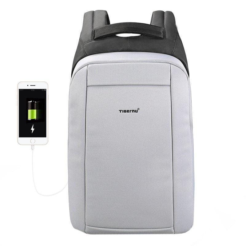 Водонепроницаемый мужской рюказак для ноутбука Tigernu T-B3599, светло-серый