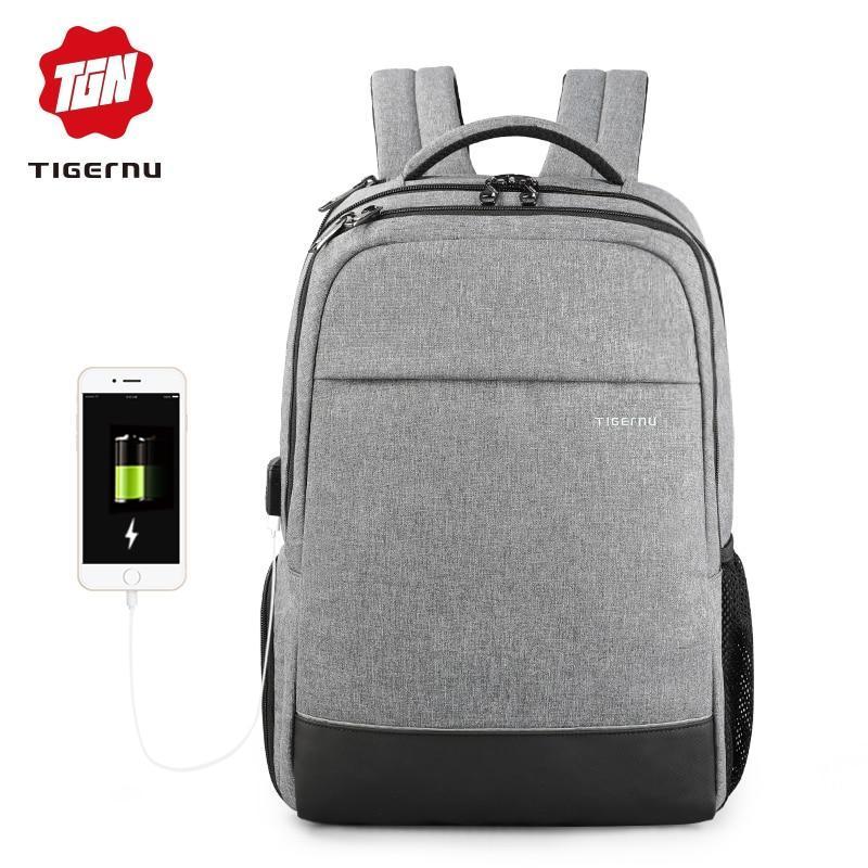 Современный Рюкзак Tigernu T-B3533 с usb выходом, темно-серый