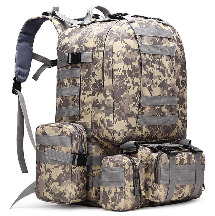 Тактический Штурмовой Военный Рюкзак с подсумками на 50-60литров Пиксель TacticBag