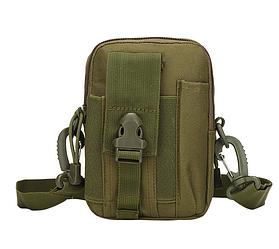 Сумка тактическая поясная, наплечная сумочка, органайзер, подсумок TacticBag Олива