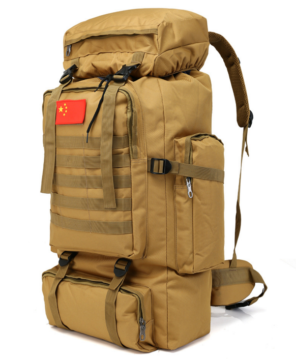 Тактический туристический городской рюкзак с системой M.O.L.L.E на 70л TacticBag Кайот