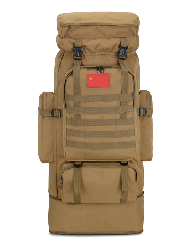 Тактический туристический городской рюкзак с системой M.O.L.L.E раздвижной на 70л- 85л TacticBag Кайот
