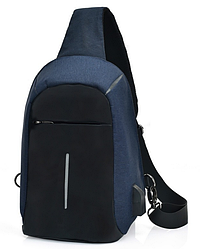 Міський рюкзак-протикрадій Bobby Mini USB, Боббі, рюкзак через плече Синій