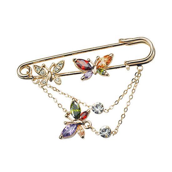 Жіноча стильна брошка метелики на шпильці кольорові камені Сваровські позолота 18К