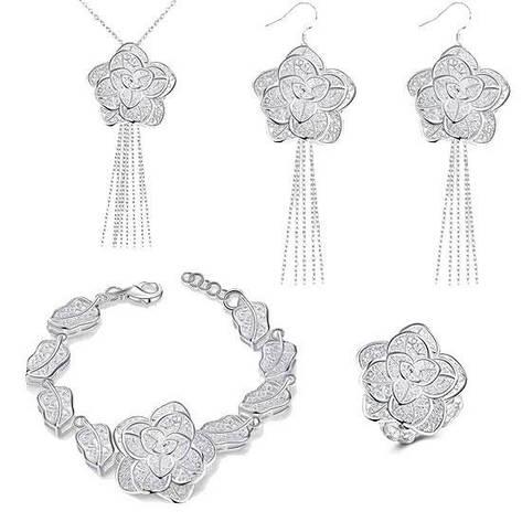 Жіночий комплект біжутерії (кольє, сережки, браслет, кільце) гарні квіти Троянди покриття срібло 925, фото 2