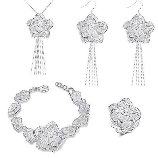 Жіночий комплект біжутерії (кольє, сережки, браслет, кільце) гарні квіти Троянди покриття срібло 925
