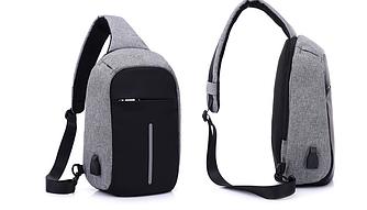 Міський рюкзак-протикрадій Bobby Mini USB, Боббі, рюкзак через плече Сірий