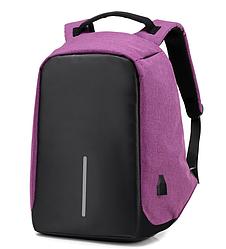 Рюкзак Bobby Боббі з захистом від кишенькових злодіїв протикрадій USB роз'єм Фіолетовий