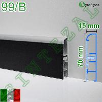 Алюминиевый плинтус со вставкой из кожи Profilpas Metal Line 99/B, фото 1