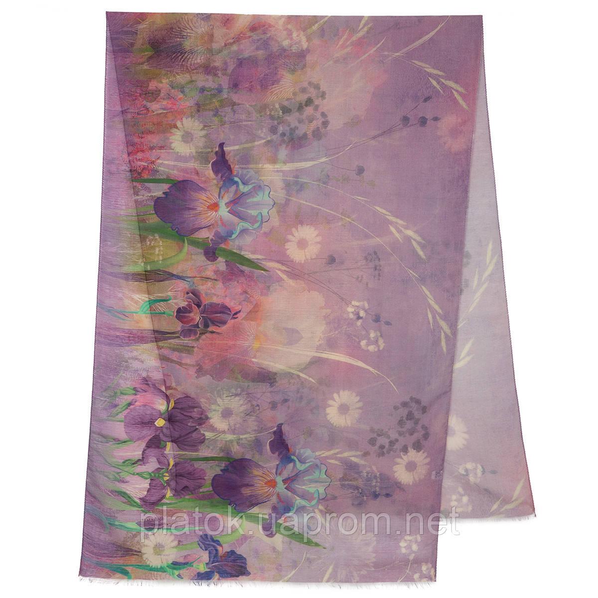 Палантин шерстяной 10756-15, павлопосадский шарф-палантин шерстяной (разреженная шерсть) с осыпкой