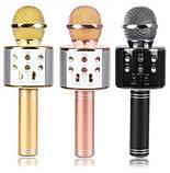 Бездротовий мікрофон караоке блютуз WS-1688 Bluetooth динамік USB Золото, фото 4