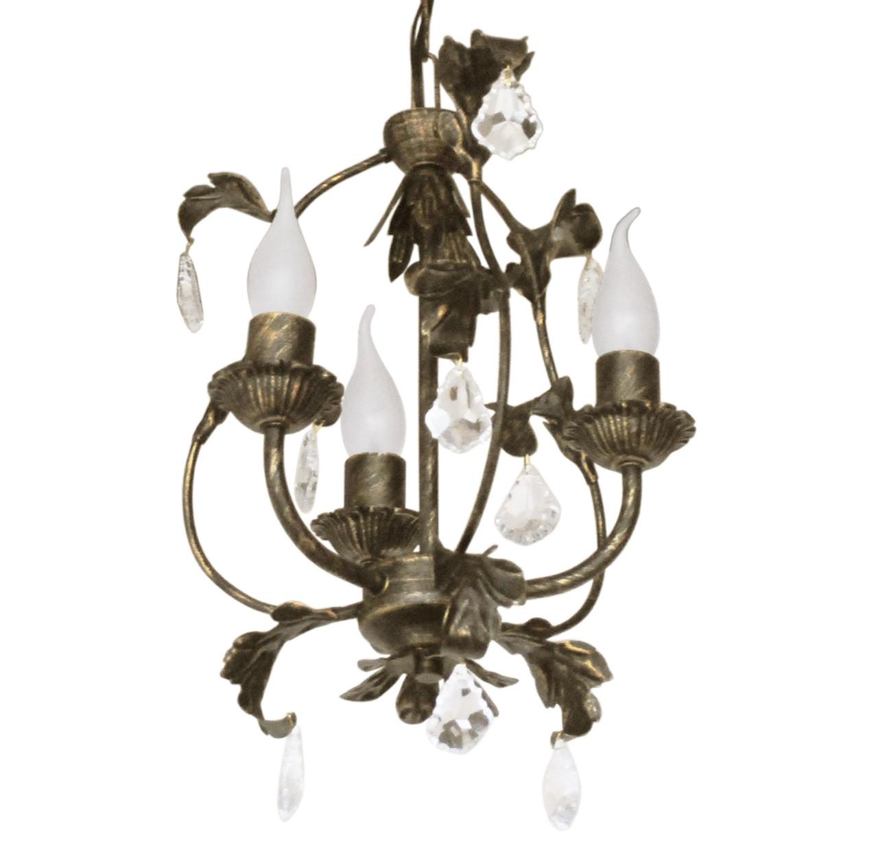 """Люстра кованая малая  """"Весна""""  с хрусталем старая бронза на 3 лампы диаметр 270мм"""