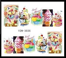 """Наклейки для ногтей """"Мороженное"""" YZW-3035"""