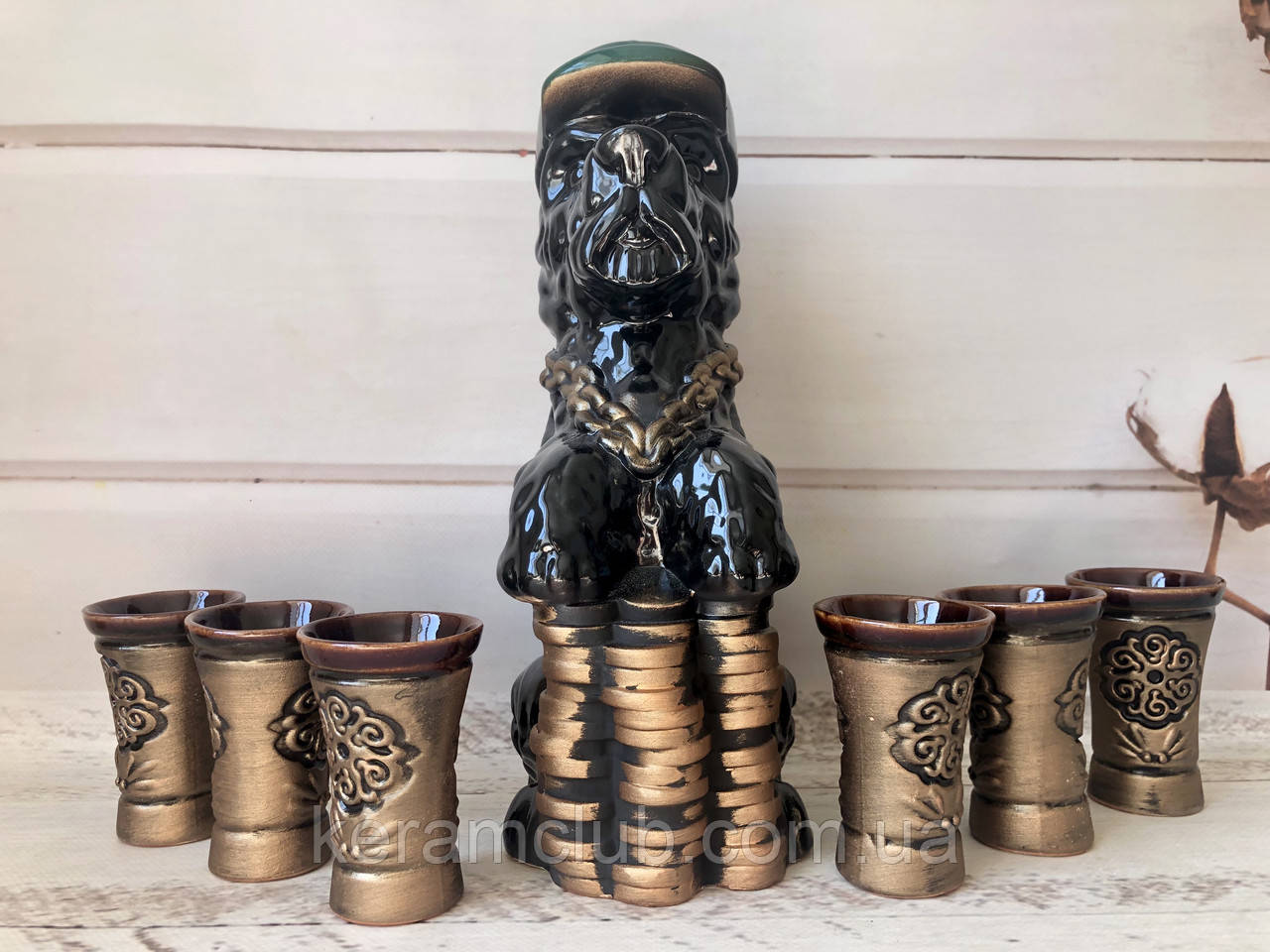 Коньячный набор собака с монетами