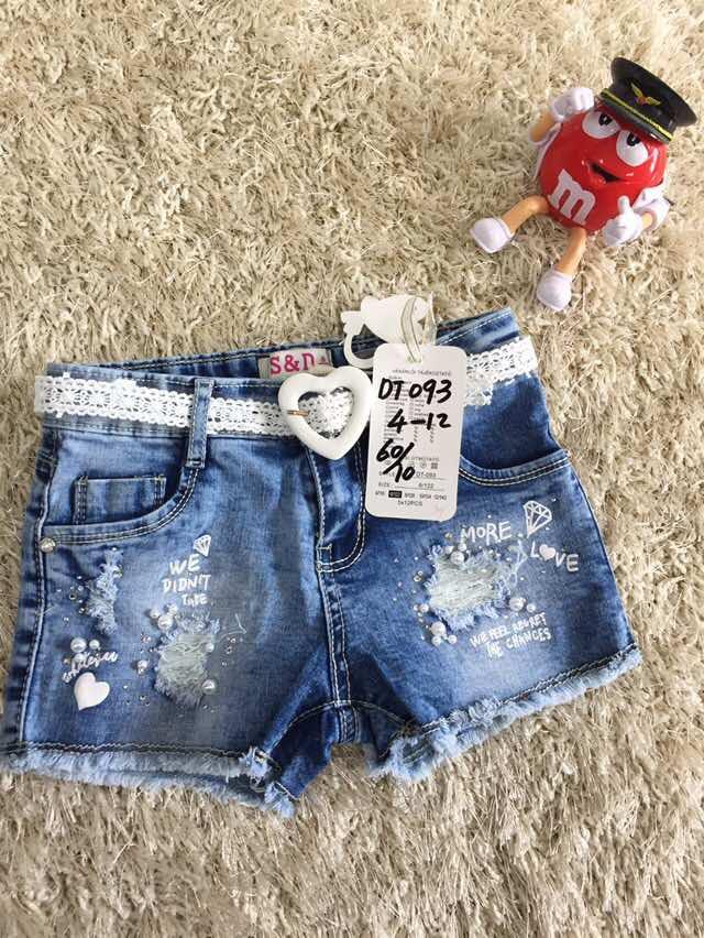 Джинсовые шорты для девочек оптом из Венгрии 4-12 лет