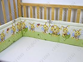 Бортики в детскую кроватку защита бампер Пчелка салатовая, фото 3