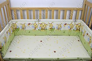 Бортики в детскую кроватку защита бампер Пчелка салатовая, фото 2