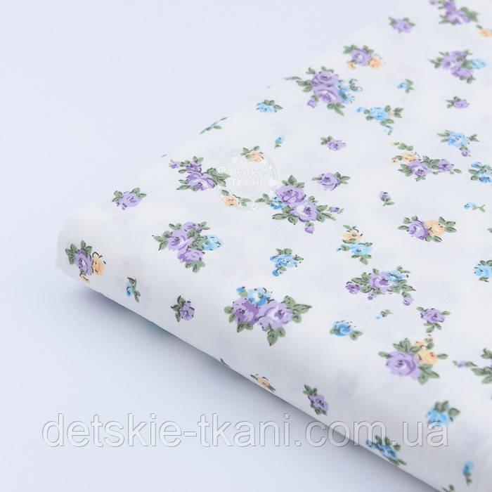 """Лоскут сатина """"Сиреневые мелкие розочки на светло-молочном""""  №1464с, размер 39*80 см"""