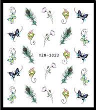 """Наклейки для ногтей """"Цветочки с перьями"""" YZW-3023"""