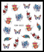 """Наклейки для ногтей """"Цветочки с перьями"""" YZW-3022"""