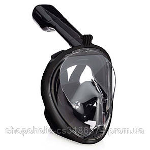 Полнолицевая панорамная маска для плавания FREE BREATH (S/M) M2068G Black с креплением для камеры