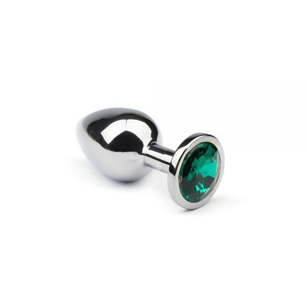 Анальная пробка утяжеленная, Silver Emerald, M