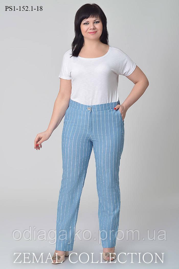 b97bc5951846 Летние женские брюки изо льна на притачном поясе с резинкой на задней  половинке ...