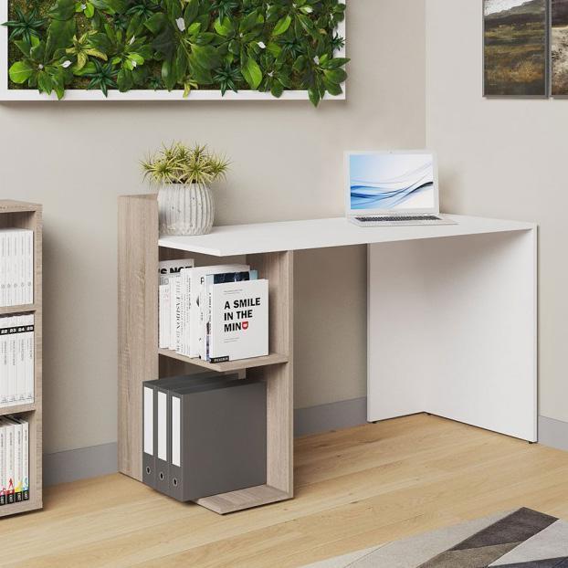 Компьютерный стол ВМВ Холдинг HOSHELF белый патина/дуб сонома