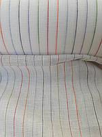 Льняная ткань в тонкую разноцветную полоску, фото 1