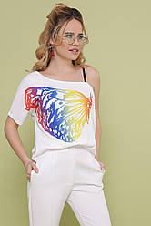 Красивая женская белая футболка на одно плечо принт Бабочка цветная Паула
