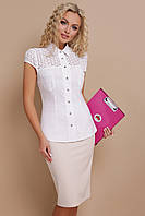Белая летняя блузка с коротким рукавом и отделкой из прошвы Фауста к/р