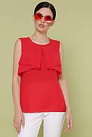 Летняя шифоновая однотонная блузка без рукавов Юлия к/р красная