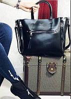 Большая Женская черная кожаная сумка реплика  Селин  топ продаж , кожаные сумки