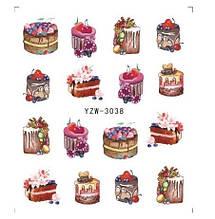 """Наклейки для ногтей """"Пироженки"""" YZW-3038"""