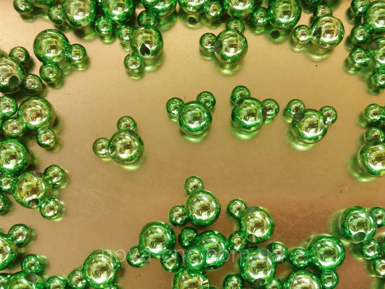 """Намистини-гудзики """"міккі"""" зелений 500 грам"""