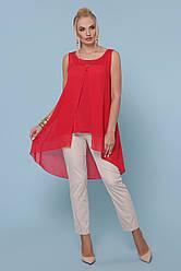 Легкая женская шифоновая майка со шлейфом большие размеры Рика-Б красная